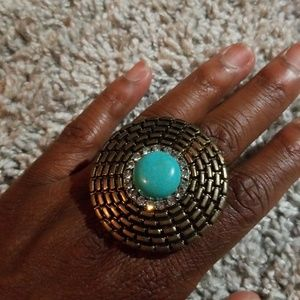 Bronze and turquoise ring